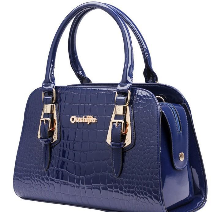 Hot sale! Women's fashion tote luxury women designer handbags high quality brand patent leather snakeskin party Boston bag(China (Mainland))