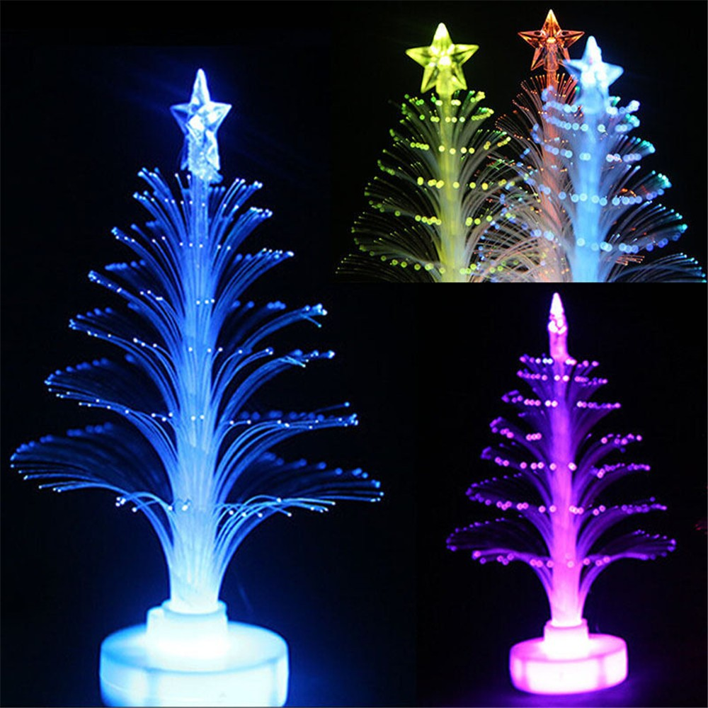 Mini Colorful Changing LED Fiber Optic Nightlight Xmas Tree Lamp Light Chrismas Decor Children's Gift