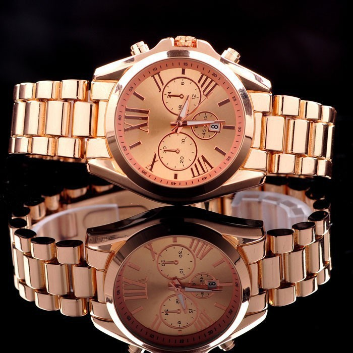 Fashion Kors luxury brand Quartz Rose Gold Men Casual Watch Dress Watch Women Rhinestone Bracelet Japanese
