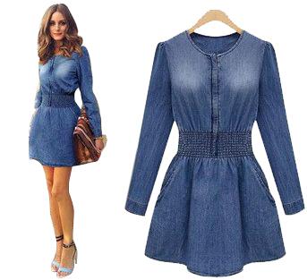 2015 new fashion women denim dresses o-neck long sleeve dress smoke banding denim dress plus size Jeans(China (Mainland))
