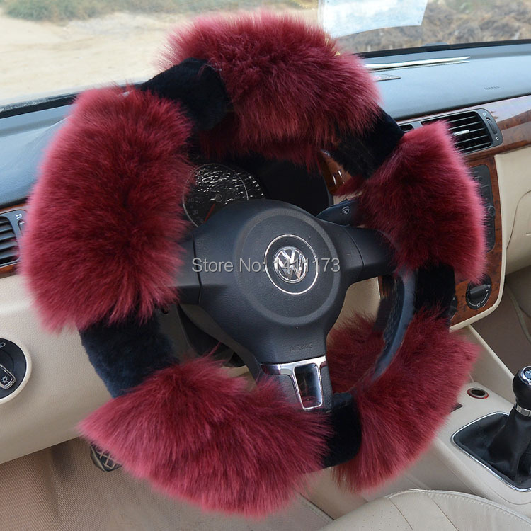 Winter wool car steering wheels cover  warmly car wheels covers racing steering covers hubs  interior accessories free shipping<br><br>Aliexpress