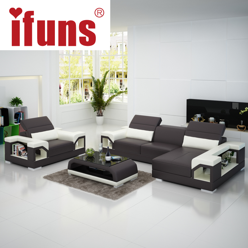 Ifuns modern design genuine leather sectional sofa set cow for Living room set design