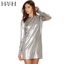 Buy HYH HAOYIHUI Women Dress Sexy Silver Split Long Sleeve Party Club Bodycon Dress Streetwear Casual Slim Basic Mini Dress Vestidos for $10.99 in AliExpress store