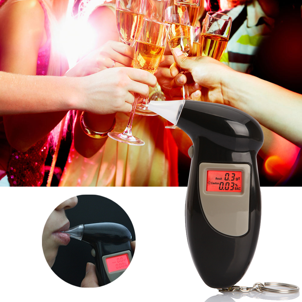 Epacket Free Shipping, Key Chain Alcohol Tester, Alcohol Breath Analyzer, Digital Breathalyzer with 5 mouthpiece Drop Shipping(China (Mainland))
