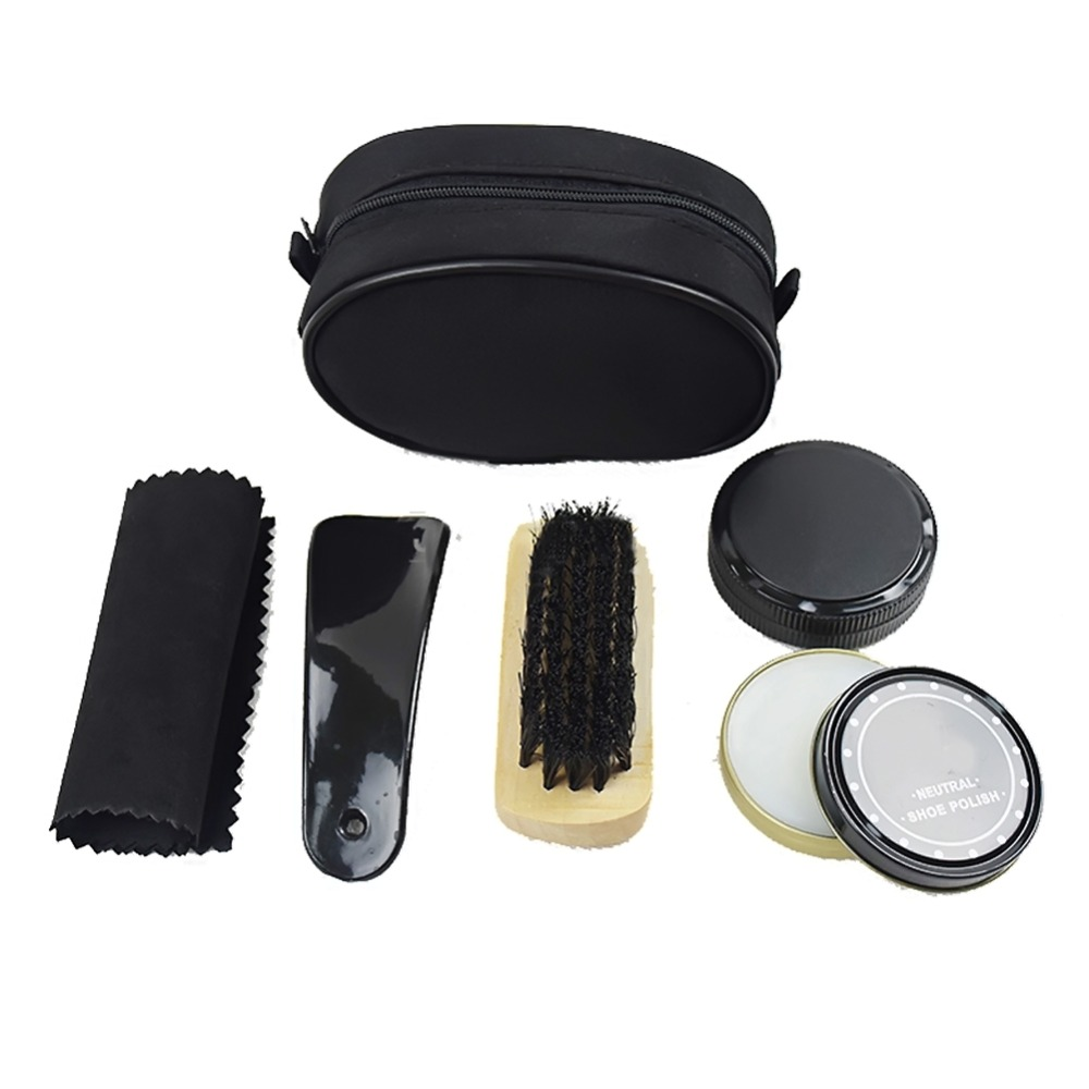 Nylon Zipper Case Shoe Shine Care Set Neutral Polish Brush Kit For Boots Shoes Sneakers Leather(China (Mainland))