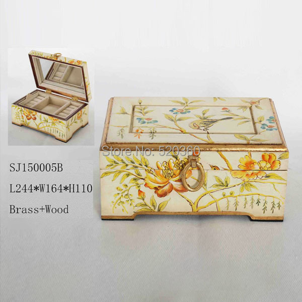 White grouding with beautiful flowers decorative handmade wood and brass jewel box, vintage style jewelry storage(China (Mainland))
