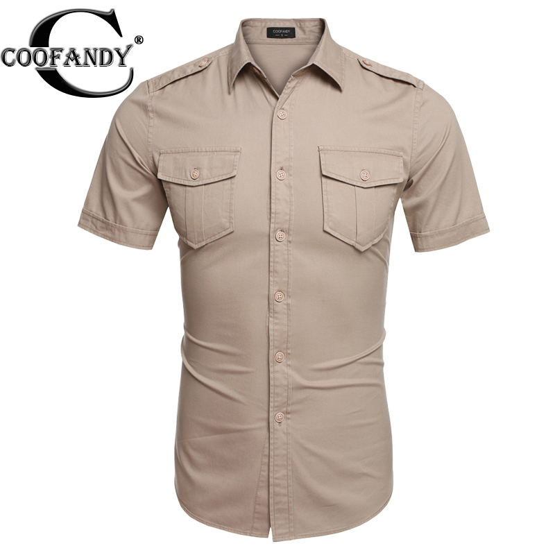 Coofandy Brand Dual Pockets Casual Shirts cotton stretch shirt short sleeve Summer men shirt Plus size S- 3XL High quality(China (Mainland))
