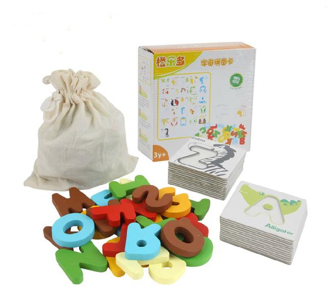 3D Alphabet Puzzle Colorful Wooden Letter Kids Educational Toy