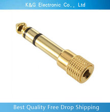 New 10pc Gold plated 6.35mm 1/4″Male plug to 3.5mm 1/8″Female Jack Stereo Headphone Audio Adapter ,TRS 6.35 to 3.5 converter