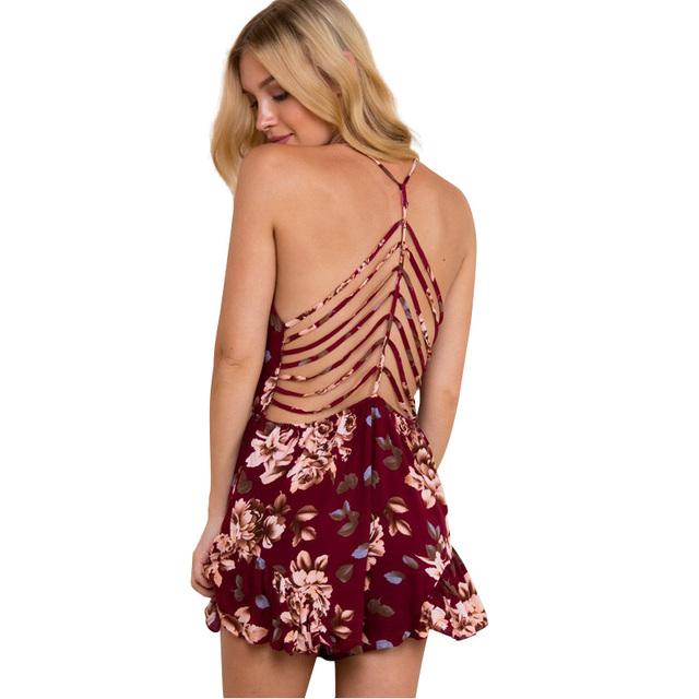 Лето стиль sexy глубокий v шеи печати женщины комбинезон ползунки 2016 новый Ремень ...