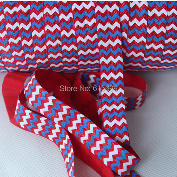 "5/8"" red white blue fold over elastic printed chevron, 4th of july, Welcome custom print FOE ribbon(China (Mainland))"