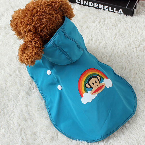 2016 All Seasons Pet Outfit Animal Print Button Closed Hooded Cute Rain Coat Pets Dog Clothing Waterproof Cheap Blue/Red XXS-XXL(China (Mainland))