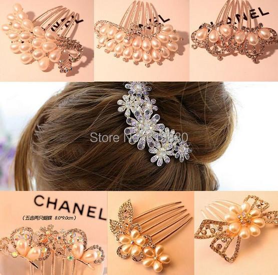 Crystal hairpin Fashion hair ornaments hair combs Free shipping(China (Mainland))