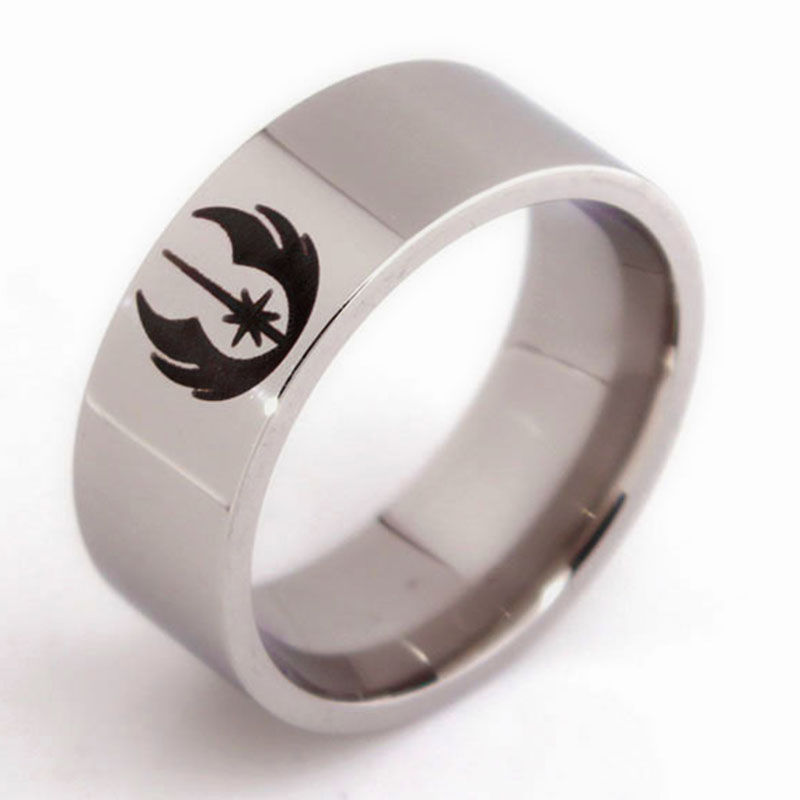 Men jewelry Star Wars ring Ghost party Wedding Ring hand decorated titanium steel Beveled Brushed Center men lord of the rings(China (Mainland))