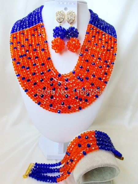 Free Shipping  African Wedding Jewelry Set Costume Nigerian Orange   Crystal Beads Jewelry Set Wholesale A-9131<br><br>Aliexpress