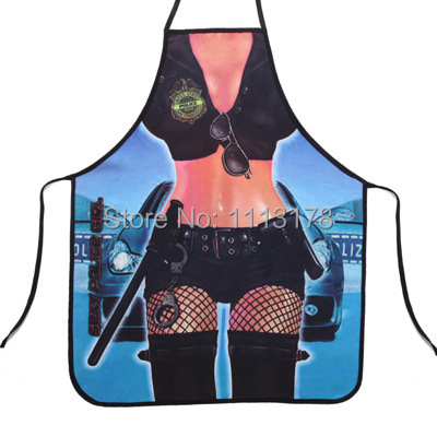 Free shipping Sexy Policewoman underwear Funny Apron -Spider-women Kitchen Apron - Bikini super women cooking apron(China (Mainland))