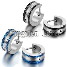 1 Pair Fashion Mens 316L Stainless Steel Huggies Hoop Earrings Wholesale pendientes aros hombre Black Blue Color Selectable(China (Mainland))