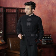 New Fashion Black Male 100% Silk Overcoat Chinese Style Embroidery Jacket Martial Arts Costume SML XL XXL XXXL(China (Mainland))