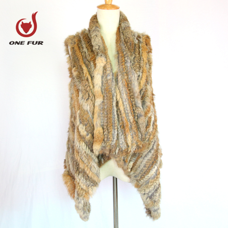 Real Rabbit Fur Knitted Vest Short Fashion Rabbit Hair Natural Waistcoat Women's Clothing
