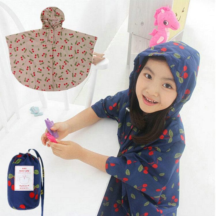 2015 Pupils Korean rain cape cartoon cute child waterproof raincoat rain poncho kids capa de chuva women cherry chubasquero(China (Mainland))