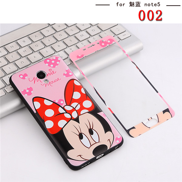 Front Full Tempered Glass film screen protector Meizu M5 Note painted sexy lips kitty minnie girl M5 Note case cover couqe