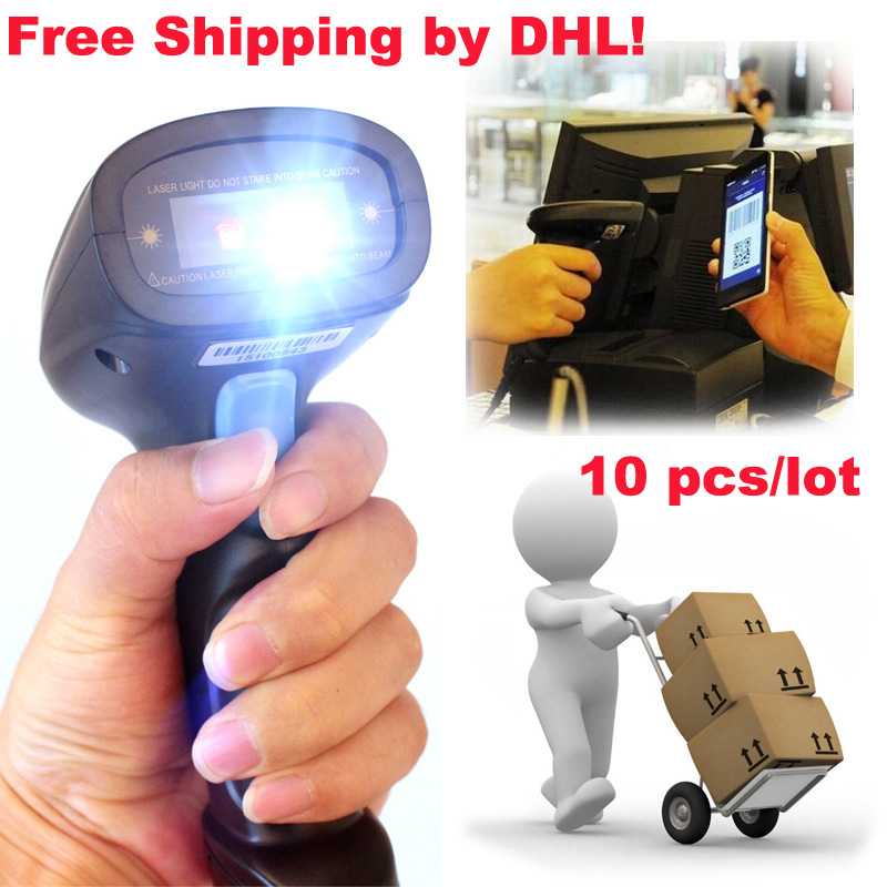 Free Ship by DHL!10 PCS/Lot 2D QR Wired Handheld USB laser Barcode Reader Scanner For Mobile Payment Computer Screen Scanner(China (Mainland))