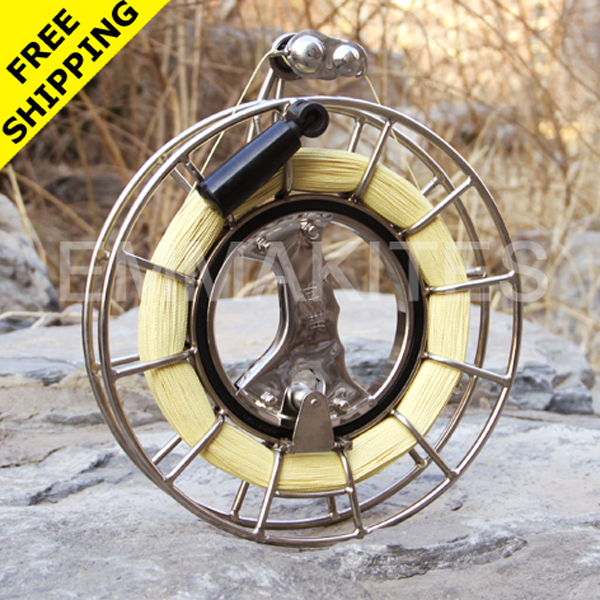 Kite Accessories Reels 10 / 26CM Silent Bearing Stainless Steel Kite String Reel With 1000ft 380lb Braided Kevlar Line<br><br>Aliexpress