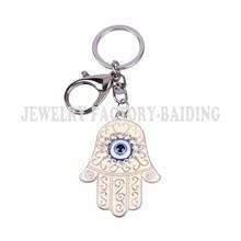 1pc free shipping fashion crystal blue evil eye sliver keyring hamsa fatima hand alloy keychain(China (Mainland))