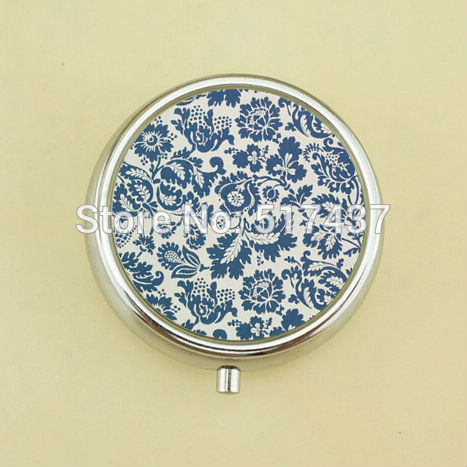 3pcs Wholesale Floral Blue Grey Pill Case Flowers Glass Picture Jewelry Mini Pill Box Metal(China (Mainland))