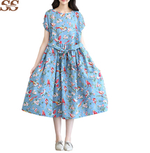 2016 Summer Autumn Fashion Women Clothing Casual Loose Cotton Dress White Blue Linen birds Floral Printed Vintage Dresses Female(China (Mainland))