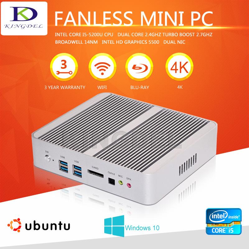 Fanless Intel core i5-5200U micro pc linux, 8GB RAM+64GB SSD+500G HDD,dual lan,2*HDMI,Windows 10 OS,HTPC(China (Mainland))