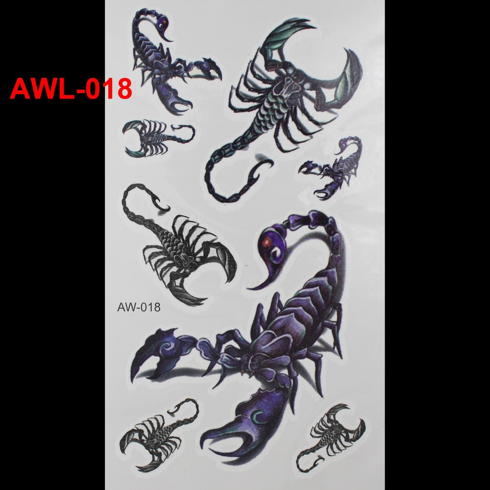 3D Dazzle Colour Waterproof Tattoo Animals Scorpion Tattoo The Art of DIY Temporary Tattoo Stickers Body art Tattoo(China (Mainland))