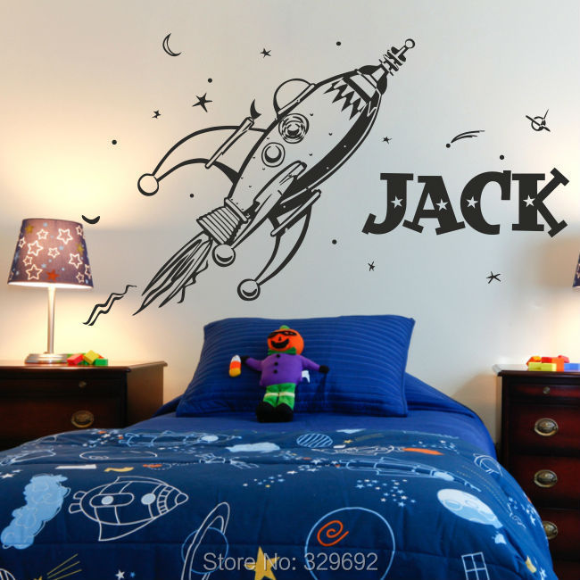 Free Shipping New style ROCKET wall sticker space boys bedroom stickers art vinyl Personalise kids name stars decal tx-282(China (Mainland))
