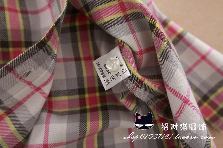 15color החולצה הנשית עם שרוולים ארוכים סתיו 2013 של נשים בתוספת גודל בגדים לטיולים עיבוי 100% כותנה סלים חולצה משובצת בגדים נשיים