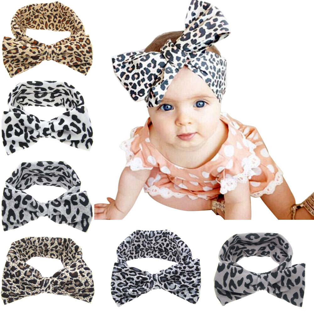 Retail 1 PC Baby Kids Girl Toddler Newborn Infant Leopard Print Floral Bowknot Headband Elastic Stretch Hair Band Accessories(China (Mainland))