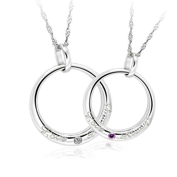 Здесь можно купить  (5pairs/lot) AAA 100% Silver 925 Necklace Love Forever Pendant Necklace Sterling Silver Couple Necklaces Fine Jewelry  Ювелирные изделия и часы