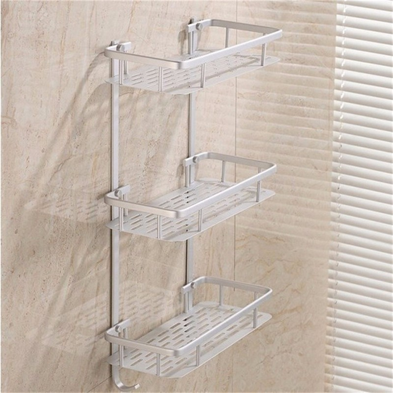 Hanging cosmetic make up shower rack storage aluminium for Rack for bathroom accessories