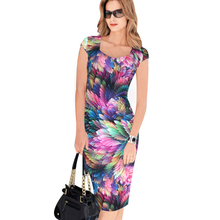 Fashion Free Shipping Designer Women Dress Elegant Floral Print Work Business Casual Party Pencil Sheath Vestidos 004(China (Mainland))