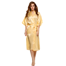 Avidlove Brand 2015 Stylish Women Nightwear Robes Sleepwear Long Night Dress Gown Robe with Belt Silk Pajamas(China (Mainland))