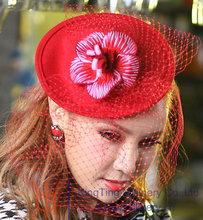 Free Shipping Women Fascinator Hat Wool Fabric Flower Mesh Girl Hair Accessories Hairband Princess Bridal Hair Accessories
