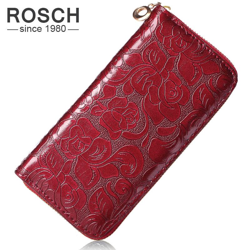 2016 New Fashion Women Wallets PU Leather Red Wallet Zipper Clutch Purse Ms floral zipper Long Purse 4 Colors Lady Change Purse(China (Mainland))