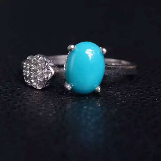 Luxury fashion star thick natural turquoise stone rings 925 sterling silver natural gem adjustable ring women party  jewelry<br><br>Aliexpress