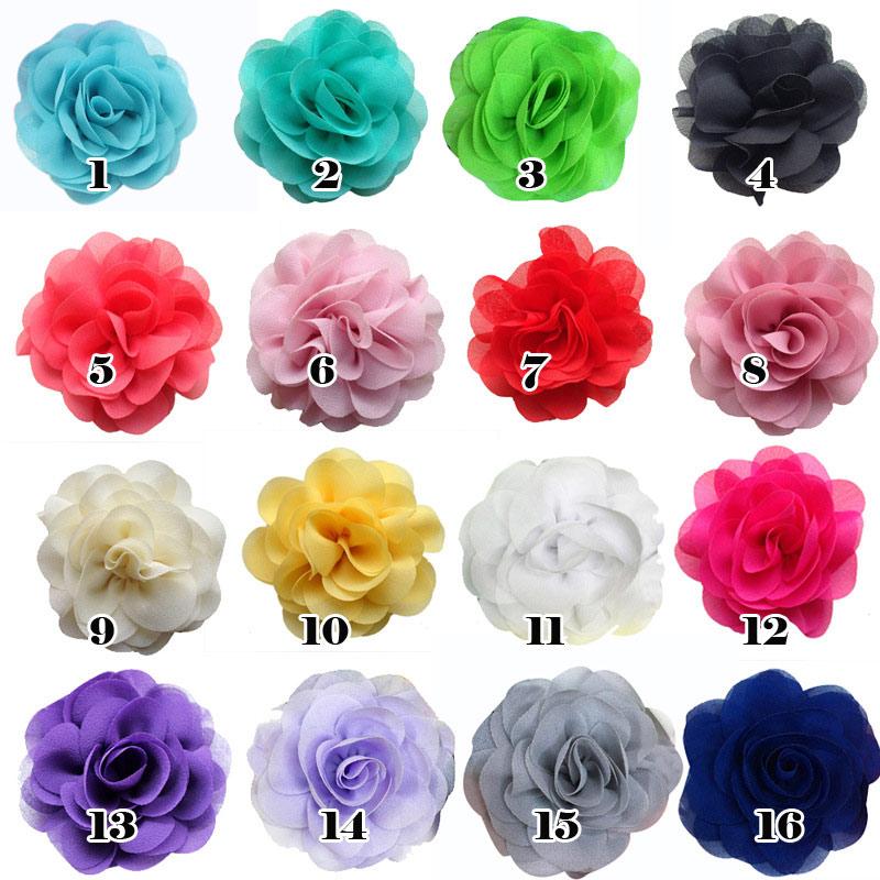 16 teile/paket DIY Blumen 8 cm Chiffon Blumen für Stirnbänder Haarschmuck Lila Königlichen Blau Grau Schmutzig Rosa etc.(China (Mainland))