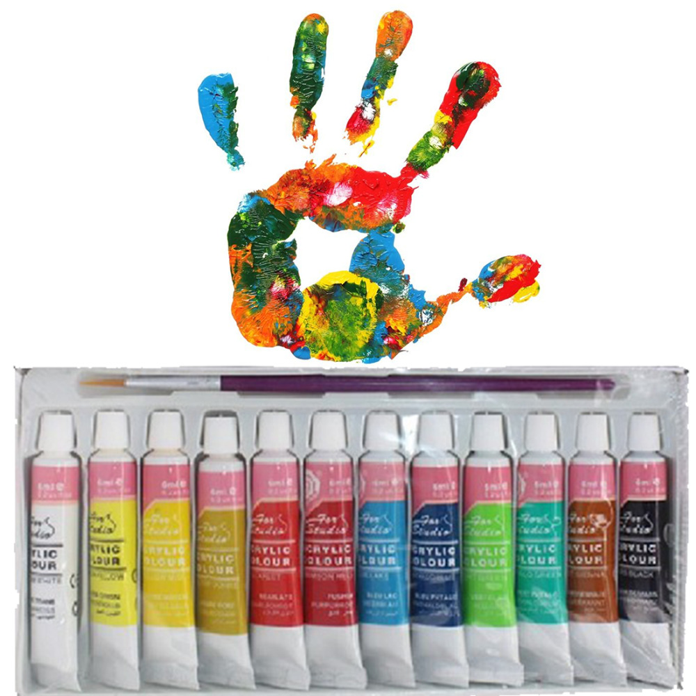 12 Colors Professional Acrylic Paints Set Hand Painted Wall Painting Textile Paint Brightly Colored Art Supplies Free Shipping(China (Mainland))