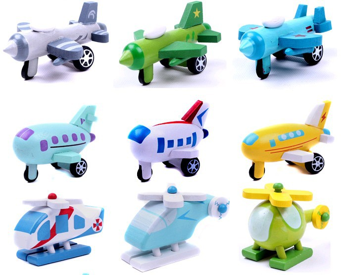12 pcs/set Cute mini wooden airplane toys for kids,wooden plane,helicopter,warplane,bomber(China (Mainland))