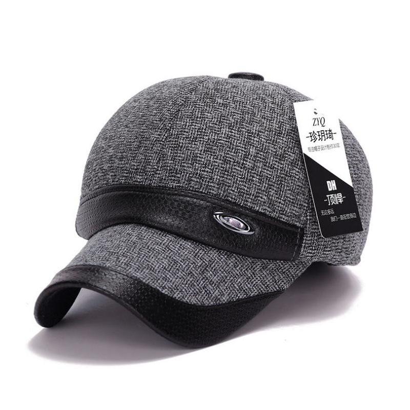 Men's Winter Hats with Ears Warm Cotton Baseball Cap Z-1938()