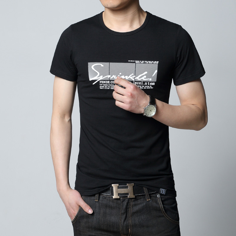 Spring Summer Mens Basical Short Sleeve Cotton T-shirts Gray White Black Slim Fit Blouses Boys Casual Tops Printing Tshirt 2XLОдежда и ак�е��уары<br><br><br>Aliexpress