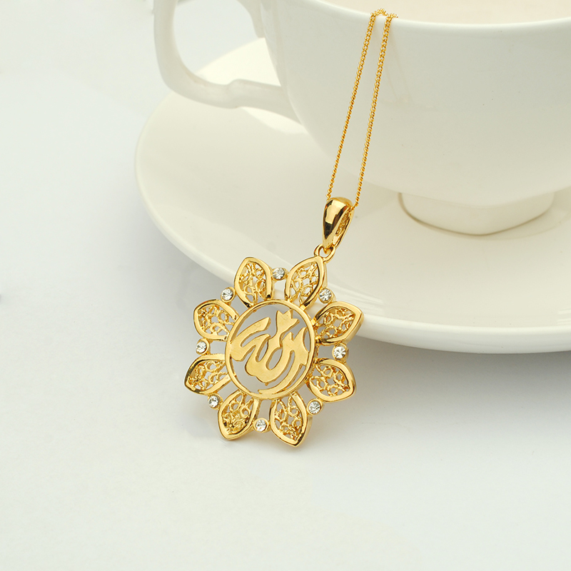 fashion design zircon hollow allah and muslim image 18k gold plated pendant for Arabic 16200138(China (Mainland))