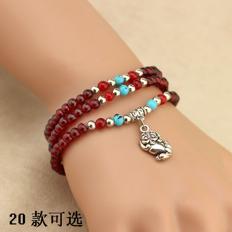 """2015 Pulseira Masculina """"specials"""" To Spread The Sources Of Ethnic Women's Faux Garnet 3 Laps Bracelet 2 Dollar Store Jewelry(China (Mainland))"""