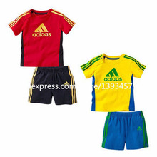 2015 new summer  children sports suit set clothing kids  T-shirts + shorts 2 pieces sets boys tracksuit clothing Sets(China (Mainland))